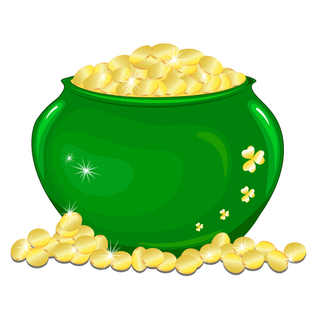 Ceramic pot with gold coins. Clover. Isolated on white vector illustratio Illustration