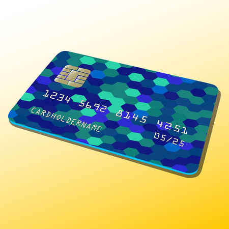 Vector illustration of a Bank card. Colorful abstract design.
