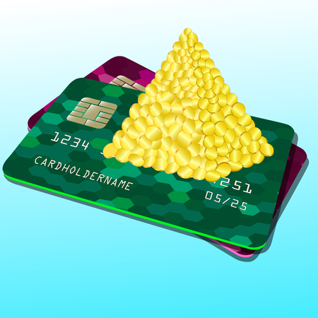 Vector illustration of a Bank card. Pyramid of money, coins. Colorful abstract design. Reklamní fotografie - 124886495