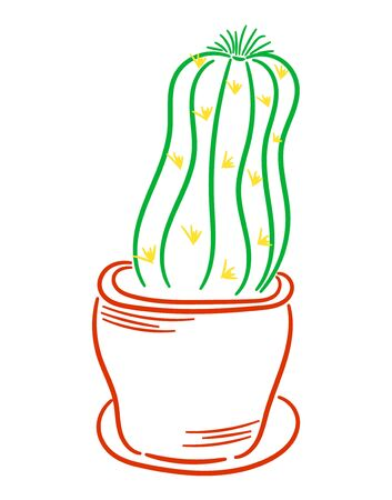 Cactus in a pot, vertical illustration on white background