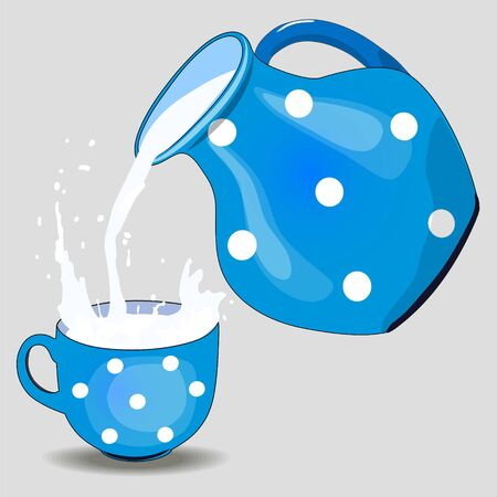 Milk pouring from a pitcher into a cup. Design template for label, banner, badge, logo. Vector.