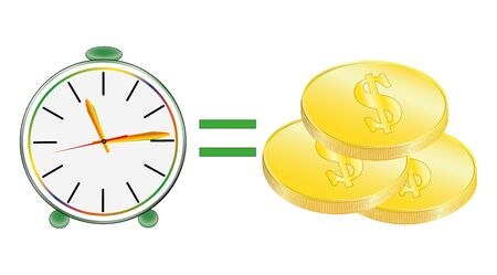 business, clock on a white background, text, Time, money, Stock Photo