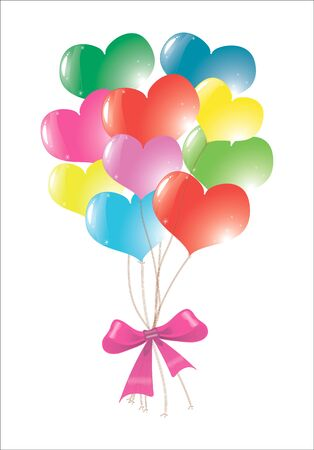 Colored, vertical balloons tied bowknot,
