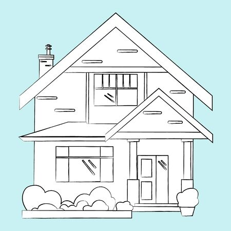 pencil sketch of the house drawn .vector.