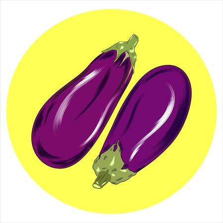 Eggplant, vegetable flat icon,  sign, One eggplant colorful pictogram isolated on white. Symbol,  illustration.