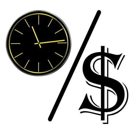 Time is money concept, clock and coin, long term financial investment, superannuation savings, future income, annual revenue, money profit and benefit, illustration