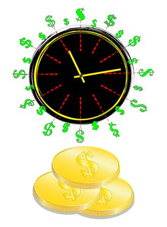 Time is money concept, clock and coin, long term financial investment, superannuation savings, future income, annual revenue, money profit and benefit, illustration flat line icon