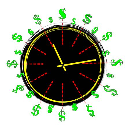 Time is money concept, clock and coin, long term financial investment, superannuation savings, future income, annual revenue, money profit and benefit, illustration  flat line icon,illustration.
