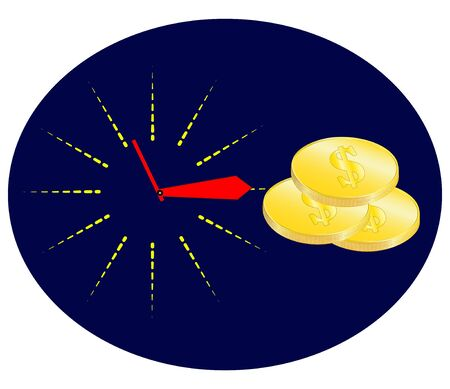 Time is money concept, clock and coin, long term financial investment, superannuation savings, future income, annual revenue, money profit and benefit, illustration flat line icon.