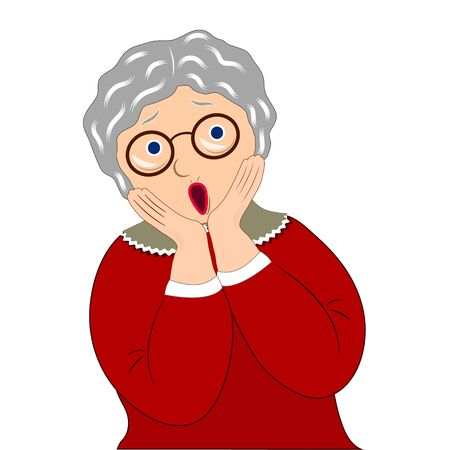 Face expression of grandmother, surprised. Emotion of old woman. Vector illustration on white background
