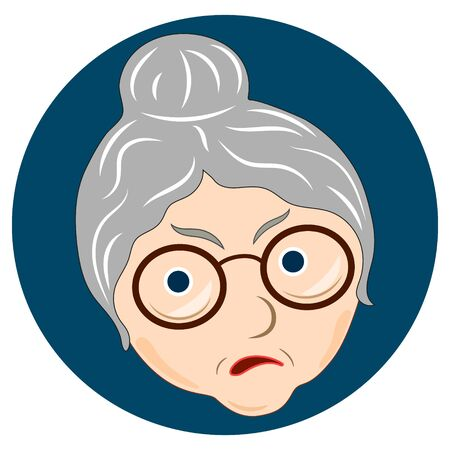 Face expression of grandmother, sad. Emotion of old woman. Vector illustration on white background.