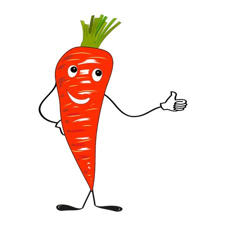 Carrot with face in flat design on white background. Vector illustration