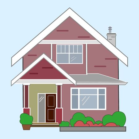 Vector illustration of cool detailed red house icon isolated on white background.