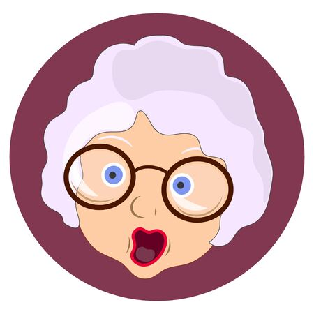 Face expression of grandmother, scared. Emotion of old woman. illustration on white background Stockfoto - 129625130