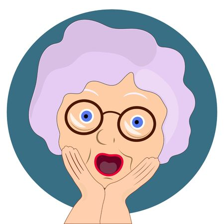 Face expression of grandmother, scared. Emotion of old woman. illustration on white background