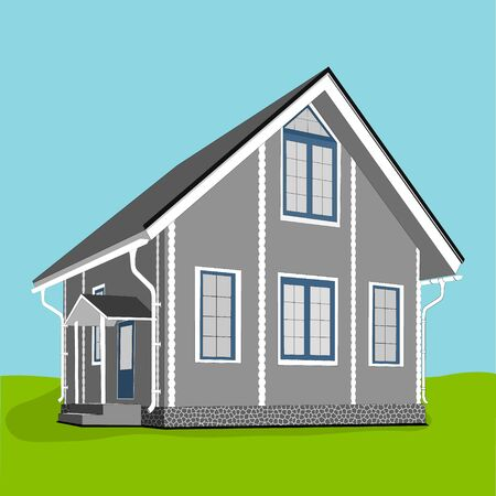 Vector illustration of cool detailed grey house icon isolated.
