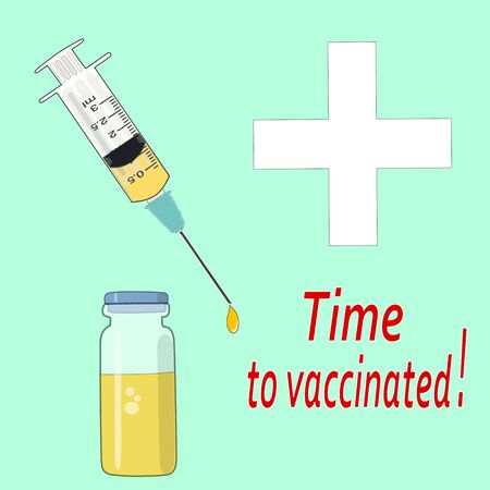 Vaccination time. Syringe with vaccine, ampoule. Medical cross. Illustration. Stock Photo