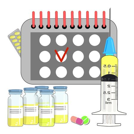 The vaccine dose vial flu shot syringe needle of the drug, the medical concept of vaccination subcutaneous injection treatment . Vaccination calendar. .illustration.