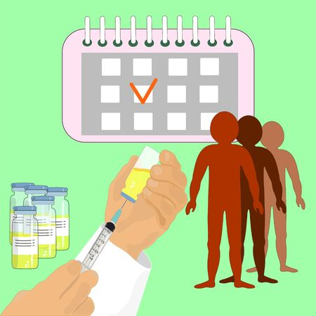 Vaccination time.doctor with a syringe in his hand. vaccination. Queue of people of different nationalities. illustration