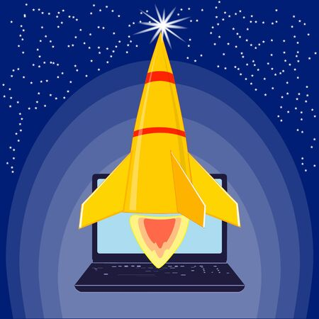 Vector illustration Start Up. Space rocket launch, Creative idea, concept of new business project development and launch a new innovation product on a market.