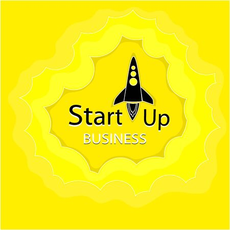 Business startup . Black silhouette, Rocket takes off.Yellow background. The black letters begin. Vector illustration in flat style.