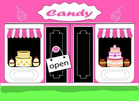 Small business sweets, candies, cakes, sign open.Flat design. Vector.