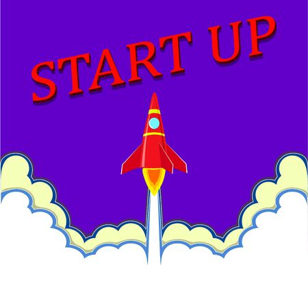 Business startup . Rocket taking off to the stars. The red letters start.  illustration in flat style.