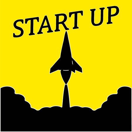 Business startup . Black silhouette, Rocket takes off.Yellow background. The black letters begin.  illustration in flat style.