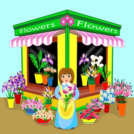 Vector illustration, small business flowers in flat design. friendly salesman.