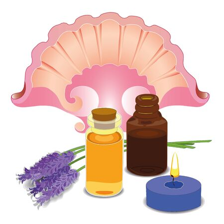 SPA composition with essential oil. Lavender flowers and a shell, a lighted candle. Vector