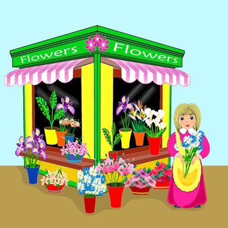 illustration, small business flowers in flat design. friendly salesman. Archivio Fotografico - 132090243
