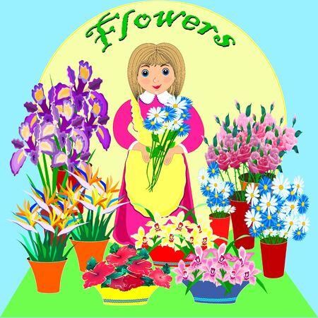 Friendly florist. business lady flower shop. Small business technology.Flat design. . Archivio Fotografico - 132090627