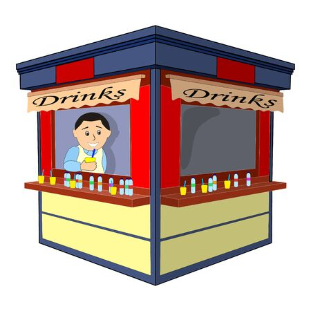 Small drinks business, seller offers cocktail. . flat design on white background. 写真素材