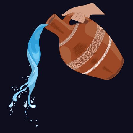 Painted clay jug with handle, splashing water, pouring water. dark background,