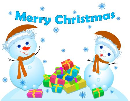 Two snowmen and gifts, merry Christmas vector
