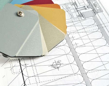 grew: grew card colour metallic sample on drawing Stock Photo