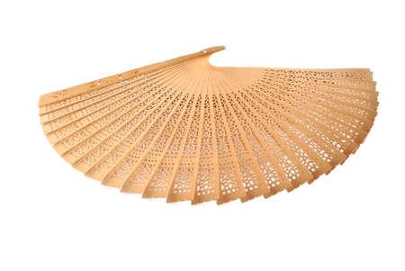 openwork: Decorative fan wooden openwork on a white background Stock Photo