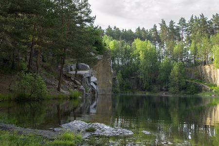 lake beach: Lake in the stone canyon surrounded by forest