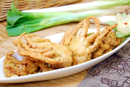 fried shoft shelll crab with salt aggs and chili Stock Photo - 8579547