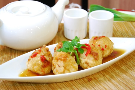 fried squid ball with shrimp and ham cooked in chinese style Stock Photo - 8579549