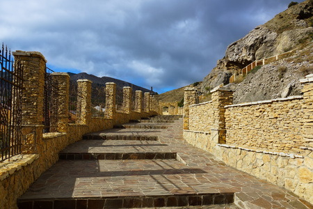 sudak: Stairs in the city of Sudak. built of natural stone. Stock Photo