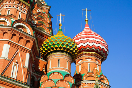 st  basil: Two domes of the temple St. Basil s Cathedral.against the blue sky Stock Photo