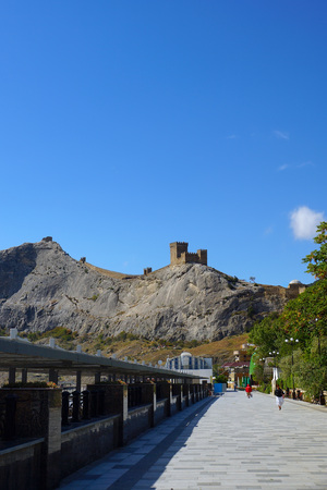 sudak: View of the Genoese fortress. Seafront town of Sudak. Crimea.