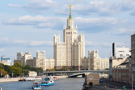 view of the highrise building in downtown Moscow.Pleasure boats on the river.