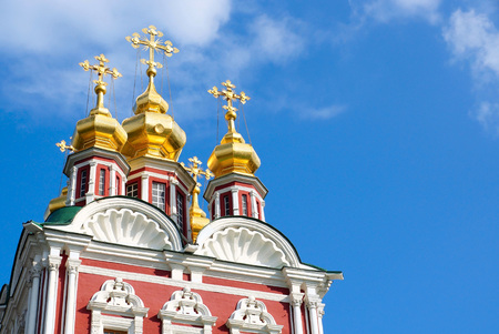 north gate: Novodevichy Convent in Moscow. Church Savior Transfiguration over the north gate. Fragment.