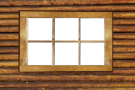 Wooden window frame. Old shabby window frame on the log wall. White background. 写真素材
