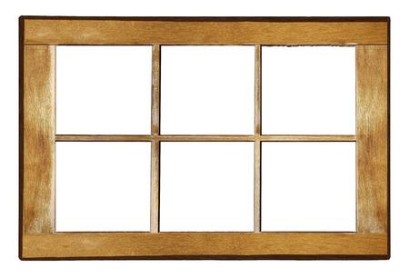Wooden window frame. Old shabby window frame on white background