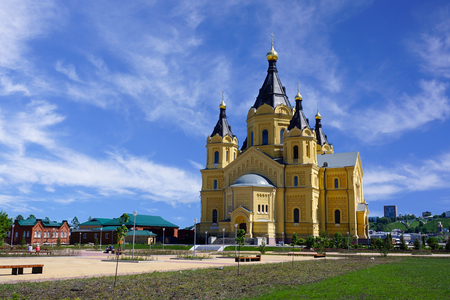 Nizhny Novgorod, Russia - May 26, 2018. Alexander Nevsky Cathedral. View of the cathedral and the new landscaped area in front of him. Built in 1868-1881. Architect Lev Vladimirovich Dal.