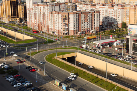 Kazan, Russia - September 5, 2019. View of the Novo-Savinovsky district of Kazan. Crossroads of Sibgat Hakim and Fatykh Amirkhan Streets