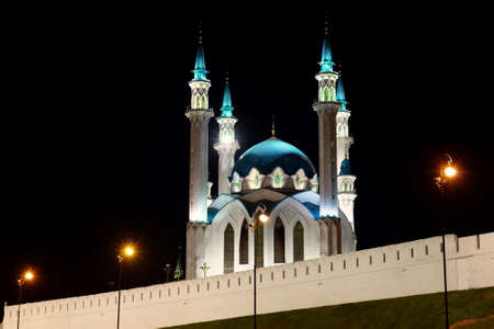 Kazan, Russia - September 7, 2019. Kul Sharif Mosque in night illumination. It was destroyed in the 16th century. It was recreated in 1995-2005. Night Kazan.